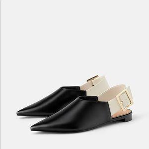 Zara black low heeled sling backs